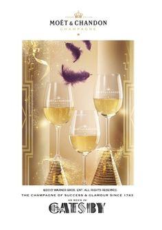 Moët & Chandon es la bebida del Gran Gatsby Moet Chandon, Flute, White Wine, Alcoholic Drinks, Champagne, Tableware, Glass, Gourmet, The Great Gatsby