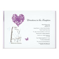 Purple Butterfly Heart Wedding Directions 3.5x5 Paper Invitation Card