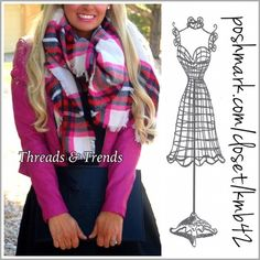Pink/Red Plaid Blanket Scarf Gorgeous pink/red plaid blanket scarf. Wear as a shaw or scarf. Made of a cotton/knit blend. Threads & Trends Accessories Scarves & Wraps