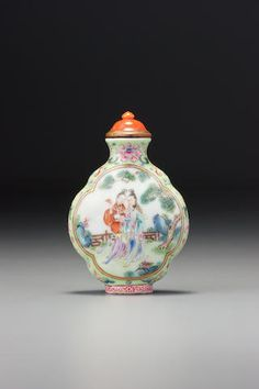 A 'famille-rose' enamel on porcelain 'female immortals' snuff bottle Imperial kilns, Jingdezhen, Jiaqing iron-red four-character seal mark and of the period, 1796 –1820