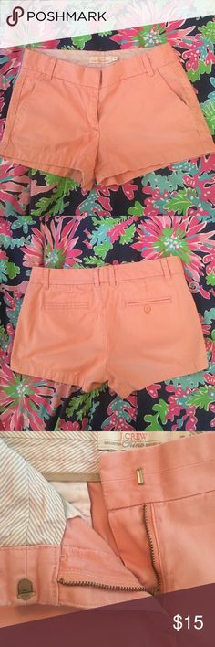 """Peach J.Crew Chino Shorts Classic 3"""" J.Crew Chinos. Peachy color. A few small marks along the waist band but other than there very minimal wear and tear. J.Crew Factory Shorts"""