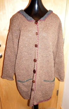 SUE P. Knits Vintage Brown Cardigan WOOL Hand Knit COOL BUTTON Sweater OSFA #SUEP #Cardigan