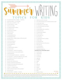 writing Looking for some fun things to do in the summer with your kids? Here's a free printable with 120 Summer Ideas, as well as a printable for fun writing prompts Journal Prompts For Kids, Writing Topics, Writing Prompts For Kids, Cool Writing, Kids Writing, Writing Activities, Creative Writing, Nanny Activities, Kindergarten Writing Prompts