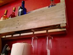 Pallet liquor wine cabinet, wine glass storage