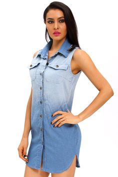 Mini Robes Button Down Manches Denim Robe Chemise Pas Cher www.modebuy.com @Modebuy #Modebuy #CommeMontre #dress #sexy #me
