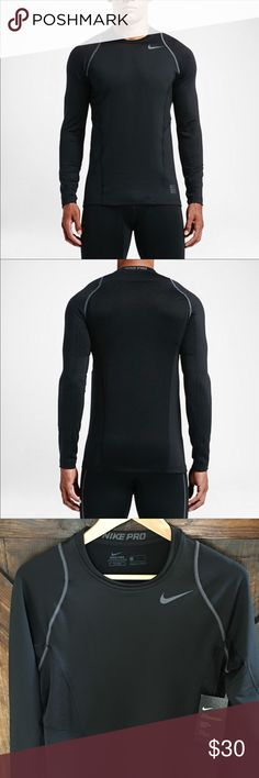 NWT Nike Pro Hyperwarm Fitted Athletic Shirt This black Nike Pro fitted hyperwarm long sleeved athletic tee has advanced performance warming, is New With Tags and is great for any kind of training. Nike Shirts Tees - Long Sleeve