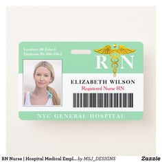 RN Nurse | Hospital Medical Employee Photo ID ID Badge