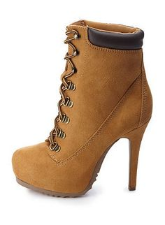 Lace-Up High Heel Work Booties at Charlotte Russe