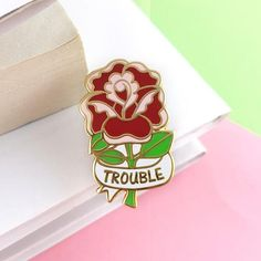 Here Comes Trouble Rose Lapel Pin Here Comes, Cute Pins, Pin And Patches, Lapel Pins, The Ordinary, Art Sketches, Enamel, Presents, Inspiring Women