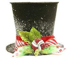 Items similar to The Peppermint King, Black Candy cane top hat, Christmas tree topper, Christmas table decoration New Monogram option on Etsy Black Christmas Tree Decorations, Black Christmas Trees, Candy Cane Christmas Tree, Noel Christmas, Christmas Tree Toppers, All Things Christmas, Christmas Crafts, Christmas Ornaments, Christmas Centrepieces
