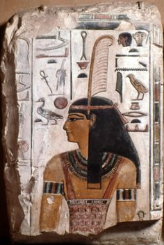 Ma'at (ancient Egyptian Goddess of truth, justice, order and balance) wearing feather of truth in her headdress. She also carries an ankh, the key of life, and sometimes a scepter. The Goddess Ma'at was most cherished by the rulers of ancient Egypt. - Relief from the tomb of Seti I, Valley of the Kings, KV17 - now in the Archaeological Museum of Florence.