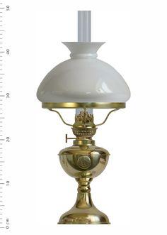 Arnö med vit vestaskärm (elmonterad fotogenlampa)