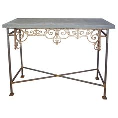 Architectural Iron Console with Hudson Valley Bluestone | From a unique collection of antique and modern garden furniture at https://www.1stdibs.com/furniture/building-garden/garden-furniture/