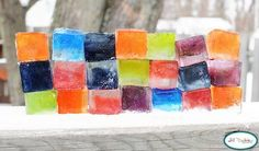 Color ice blocks - one of the 20 snow activities forThe ultimate list of snow activities for kids - at Non Toy Gifts