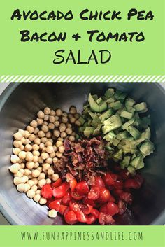 Avocado Chick Pea & Tomato Salad :http://www.funhappinessandlife.com/avocado-chick-pea-tomato-salad/