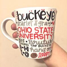 Ohio State Buckeyes Coffee Mug Hand Painted - OSU Mug Ohio State Mug - Ohio State - Ohio State Mug by MorningSunshineShop on Etsy https://www.etsy.com/listing/219487856/ohio-state-buckeyes-coffee-mug-hand