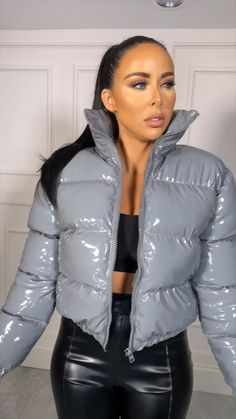 "This is ""Grey Puffer Jacket"" by Femme Luxe on Vimeo, the home for high quality videos and the people who love them. Silver Puffer Jacket, Gray Jacket, Tight Leather Pants, Leather Jacket, Parka Style, Puffy Jacket, Winter Jackets Women, Videos, Outfit"