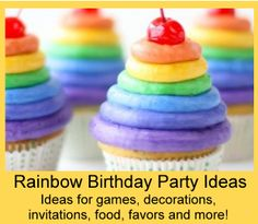 Rainbow Party Theme | Birthday Party Ideas for Kids / Fun and free ideas for Rainbow themed games, activities, crafts, food, favors, invitations, decorations and more! http://www.birthdaypartyideas4kids.com/rainbow-party-theme.htm