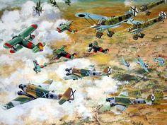 #Lámina Combate aéreo entre sublevados y republicanos durante la Guerra Civil Española #GuerraCivil