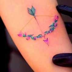 23 Inspiring Arrow Tattoo Ideas: #7. PRETTY FLORAL BOW AND ARROW; #arrowtattoo; #tattoos