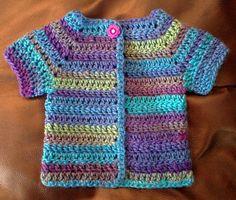 Crocheted Short Sleeve Baby Sweater / Cardigan Baby Sweater Patterns, Baby Knitting Patterns, Crochet Patterns, Crochet Jacket, Crochet Cardigan, Sweater Cardigan, Crochet For Kids, Crochet Baby, Knit Crochet