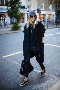 50 Winter outfits to Copy ASAP - Gray beanie, black short sleeve coat, leather pants, and leopard print slip on shoes