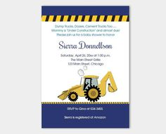 BUNDLE PACK Construction Backhoe Boy Baby Shower Invitation EDITABLE Diaper Raffle  Books for Baby  Thank you Card Instant Download bs-072