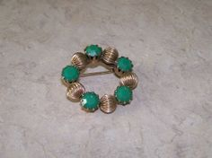 Gold and Jade Color Vintage Brooch Green by NonisEclecticShop, $7.50