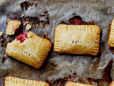 For these portable fruit pies, Georgia-based chef-restaurateur Hugh Acheson uses rice wine vinegar to make the flavors pop. Get the recipe for Strawberry Rhubarb Hand Pies Rhubarb Desserts, Just Desserts, Delicious Desserts, Rhubarb Rhubarb, Rhubarb Cobbler, Spring Desserts, Strawberry Hand Pies, Strawberry Recipes, Strawberry Rhubarb Pie