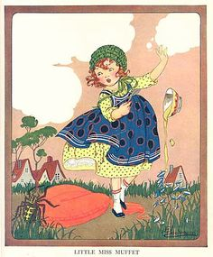 Vintage Nursery Rhyme Illustrations | Little Miss Muffet Nursery Rhyme