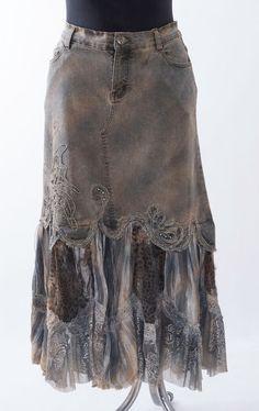 BOHO Victorian steam punk Embellished Denim Trumpet lace skirt #MIZZ #PeasantBoho