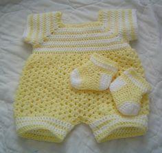 0064B. Baby Boy Romper 2PC Crochet Pattern Set por AlwaysCreateSeed