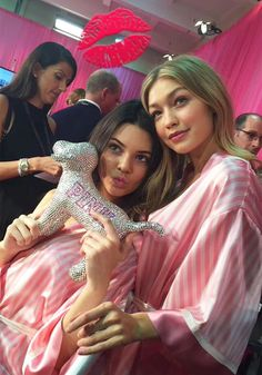 Kendall Jenner & Gigi Hadid backstage before the 2015 Victoria's Secret Fashion Show at Lexington Avenue Armory on November 10, 2015 in New York City (Image Courtesy of Snapchat)