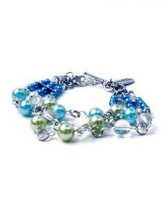 Bead Bracelets – Bracelet aqua, green, transparent glass pearls – a unique product by PerElle on DaWanda