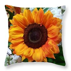 "Small Sunflower  Throw Pillow (14"" x 14"") by Tammy Finnegan.  Our throw pillows are made from 100% cotton fabric and add a stylish statement to any room.  Pillows are available in sizes from 14"" x 14"" up to 26"" x 26"".  Each pillow is printed on both sides (same image) and includes a concealed zipper and removable insert (if selected) for easy cleaning."