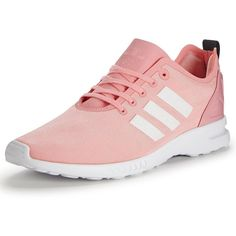 Adidas Originals Zx Flux Smooth W Trainers (845 NOK) ❤ liked on Polyvore featuring shoes, sneakers, striped sneakers, adidas originals sneakers, striped shoes, chunky shoes and cushioned shoes