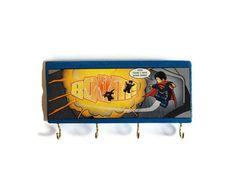 COMIC BOOK Superman key rack or jewellery holder hand by FuNkTjUnK