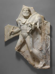 Marble relief with Herakles carrying the Erymanthian Boar  Roman 27 BC Augustian or Julio Claudian period