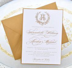 Gold Wedding Invitation Monogram Invitation by WhimsyBDesigns
