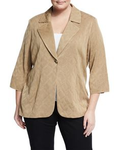 3/4-Sleeve+Textured+Knit+Jacket,+Saddle,+Plus+Size+by+Misook+Plus+at+Neiman+Marcus+Last+Call.