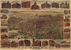 Shop Los Angeles California 1891 Antique Panoramic Map Poster created by HistoryInFrame. Personalize it with photos & text or purchase as is! Map Los Angeles, Downtown Los Angeles, Los Angeles California, Birds Eye View Map, California History, Southern California, California Map, Vintage California, Los Angeles Neighborhoods