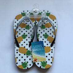 Pineapple Flip Flops Adorable pineapple flip flops. Brand new! Size large (8/9) Shoes Sandals