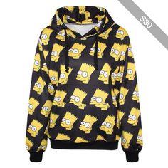 Black Bart Simpson Print Hooded Sweatshirt