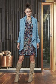 Wonderlust Dress and Del Mar Cardi. The blue is to die for! Keep your eyes peeled for this one! Work Fashion, Indigo, Knitwear, Boho, Lady, Womens Fashion, Fabric, Cotton, Beautiful