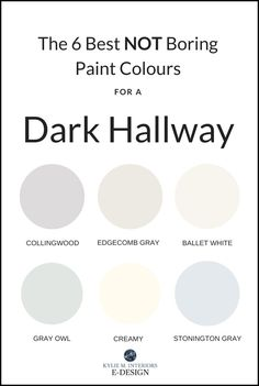 The best pretty paint colours for a dark hallway or staircase. Kylie M INteriors Edesign, Benjamin Moore and Sherwin Williams paint advice The 6 Best NOT BORING Paint Colours for a Dark Hallway Hallway Paint Colors, Best Paint Colors, Interior Paint Colors, Paint Colors For Home, Room Colors, House Colors, Colours For Hallways, Hallway Colour Schemes, Interior Design