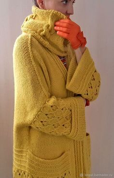 Baby Knitting, Knitted Baby, Knit Baby Sweaters, Yellow Cardigan, Turtle Neck, Crafty, Pullover, Sewing, Fashion