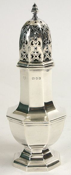 English antique sterling silver sugar shaker caster. This would go well with my Towle Carpenter Hall flatware.