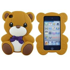 Brown Cute 3D Teddy Bear Silicone Back Case for iPod Touch 4G 4 4th Gen