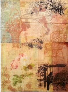 Rice Paper for Decoupage  Decopatch Sheet Scrapbooking Craft Romantic Garden