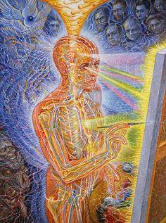 Art💕💫Painting by Alex Grey – Fine Art Direct Alex Grey Paintings, Alex Gray Art, Psychadelic Art, Psy Art, Mystique, Hippie Art, Visionary Art, Sacred Art, Surreal Art